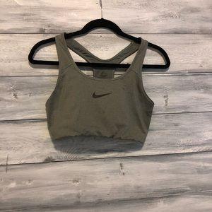 Gray Nike Dri-Fit sports bra